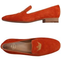 Church's Moccasins ($225) ❤ liked on Polyvore featuring shoes, loafers, orange, genuine leather shoes, mocassin shoes, real leather shoes, orange leather shoes and leather sole shoes