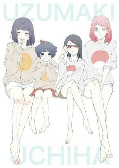 Uzumaki Hinata, Uzumaki Himawari, Uchiha Sarada and Uchiha Sakura.