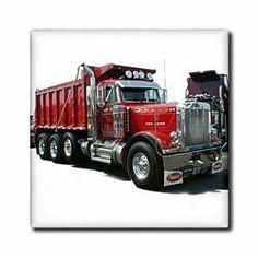 3dRose LLC Dump Truck 4-Inch Ceramic Tile by 3dRose. $13.99. Image applied to the top surface. Clean with mild detergent. Dimensions: 4-inch h by 4-inch w by 1/4-inch d. Construction grade floor installation not recommended. High gloss finish. Dump truck tile is great for a backsplash, countertop or as an accent. This commercial quality construction grade tile has a high gloss finish. The image is applied to the top surface and can be cleaned with a mild detergent. Peterbilt Dump Trucks, Mack Trucks, Big Rig Trucks, Semi Trucks, Cool Trucks, Custom Big Rigs, Custom Trucks, Big Tractors, Freight Truck