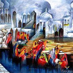 lavoir peinture - Recherche Google Les Oeuvres, Images, Recherche Google, Painting, Art, India, Paint, Chicken, Idea Paint