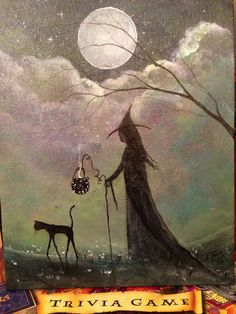 Original OOAK Painting Cat Witch Gothic Halloween by TerriAnnFoss