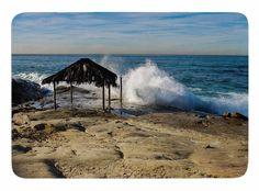 Straw Hut on Beach by Nick Nareshni Memory Foam Bath Mat