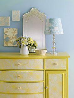 Projects Using a Roll of Wallpaper Wallpaper Dresser, Diy Wallpaper, Wallpaper Furniture, Mellow Yellow, Blue Yellow, Painted Furniture, Diy Furniture, Cardboard Furniture, Furniture Design