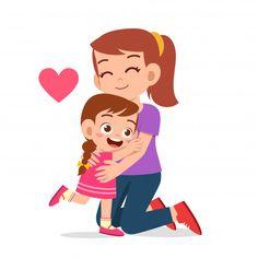 Menina feliz criança fofa, abraçando a m... | Premium Vector #Freepik #vector #pessoas #amor #criancas #familia Happy Hug Day, Happy Mom, Happy Kids, Mothers Day Drawings, Art Drawings For Kids, Baby Cartoon Characters, Cartoon Kids, Bullet Journal For Kids, Cartoon Familie