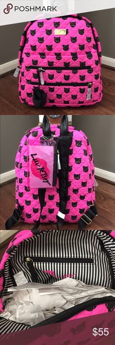 New😻 Betsey Cat on My Back-Pack🙀 This is a full size backpack that will holder binders & books. Outside large front snap pocket, it's holds my iPad. 2 zip pockets with cat Pom on zipper. Fully adjustable back straps and clear pink Luv Betsey Lips zipper pencil holder. Inside has large zip pocket on back wall & large slip pocket & 3 pen holders. NWT Betsey Johnson Bags