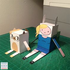 """Fionna & Cake"" ADVENTURE TIME Paper Foldables for Cartoon Network"