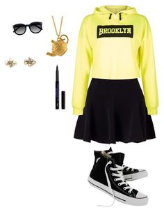 """""""School😂😂 #marianastrench #JoshRamsay"""" by mariacanta ❤ liked on Polyvore featuring Miss Selfridge, New Look, Converse, Alex Monroe, Ace and Aéropostale"""
