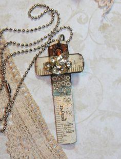 BLUE & Rhinestones Carpenters Cross Vintage Ruler Necklace. $19,99, via Etsy.
