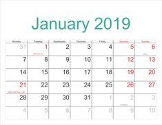 12 Best January 2019 Printable Calendar Images On Pinterest
