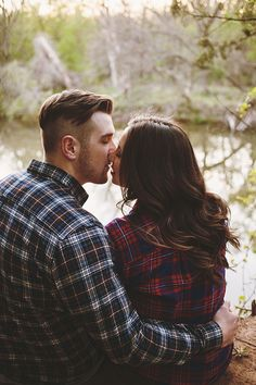 023 engagement photos by creek plaid outfits