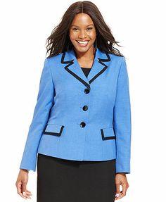 Le Suit Plus Size Contrast-Trim Jacket macy's 72.99  Web ID: 1166359