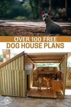 Over 100 Free Dog House Plans - I am pretty confident that in these dog house plans you will find one that will suit your garden and wallet. I like the dog house in the picture. I love the log cabin look of it. #doghouse #doghouseplans #diy #homestead #homesteading