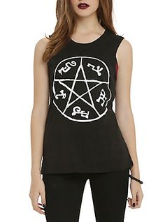 Supernatural Devil's Trap Girls Muscle Top, BLACK