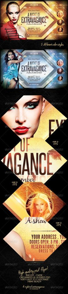 A Night Of Extravagance Flyer Template $6. *** This flyer is perfect for the promotion of Fashion Events, Club Parties, Musicals, Festivals, Concerts or Whatever You Want!.***