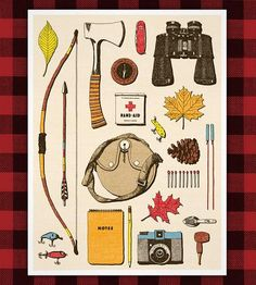 Outdoorsman Print | Display a wide array of vintage outdoorsman supplies with this... | Posters