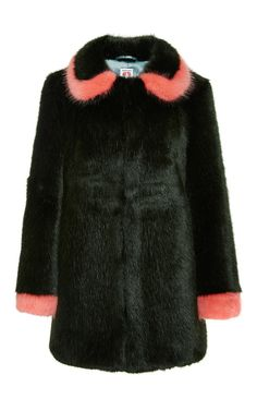 Abatha Coat In Bottle Green And Shrimps Pink by SHRIMPS Now Available on Moda Operandi