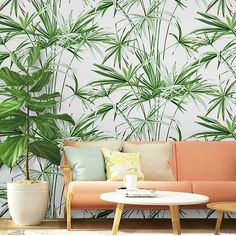 Vibrant Green Bamboo Non-Woven Wallpaper Bamboo Wall, Room With Plants, Empty Spaces, Tropical Decor, Color Shades, Vibrant, Oct 31, Wall Decor, Yin Yang