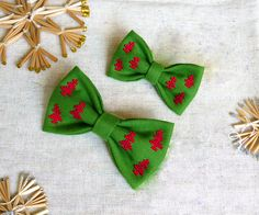Items similar to Adult and kids Christmas embroidered Bow-Ties - Bow Ties with Christmas trees for dad and son - Bow Tie with cross-stitch - For New Year on Etsy Christmas Ties, Kids Christmas, Christmas Crafts, Handmade Accessories, Handmade Items, Christmas Costumes, New Year Gifts, Easter Crafts, Hand Embroidery