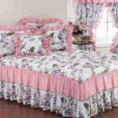 Stunning bedspreads add the perfect finishing touch to your bedroom decor. The bedspread is a decorative addition that enhances any bedroom in your ho. Daybed Bedding, Cal King Bedding, Queen Bedding Sets, Satin Bedding, Pink Bedding, Ruffle Bedding, Floral Bedding, Shabby Chic Twin Bedding, Shabby Chic Bedrooms