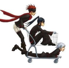 They see me rollin' They hatin', patrollin' and tryna catch me ridin' dirty   - D.Gray-Man  Allen , Kanda and Lavi having fun