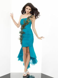 One-Shoulder Dress with Peacock Feather Details