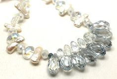 White Biwa pearls, opaque white crystals, iridescent blue crystals and violet quartz briolettes necklace  on ArtFire
