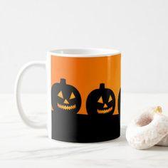 Pumkin silhouette on orange coffee mug - minimalist office gifts personalize office cyo custom