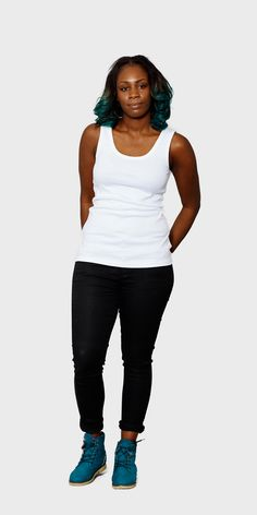 Women's white organic cotton fitted vest | front view | The White T-Shirt Co