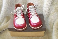 Vintage Childrens Leather Shoes Julius Altschul Shoe Company Size 4 EE Red Tan