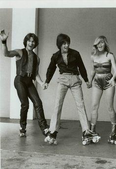 Patrick Swayze, Scott Baio (Happy Days) & Maureen McCormick (Brady Bunch) in an early movie 'Skatetown USA'   1979
