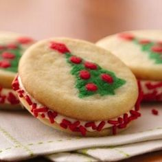 Christmas Tree Sandwich Cookies Recipe - Right-side up or upside down, there's a cute Christmas tree shape on both sides of these easy cookie sandwiches!…