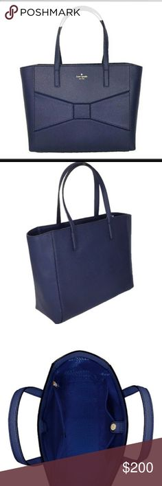 """Kate Spade-Large-Navy-FranciscaTote-NWT This Kate Spade Francisca large tote features a well placed bow and has plenty of room for all your essentials. Perfect for a day of shopping, work or travel. Features: Large tote bag in pebbled leather  Front iconic bow detail. Gold foil signature logo. Top handles, 8"""" drop. Bottom metal feet. Magnetic snap closure. Lined. Zipper pocket and double slide pockets 12"""" h x 14""""/17"""" w x 5"""" d NWT  All items ship from smoke free home. kate spade Bags"""