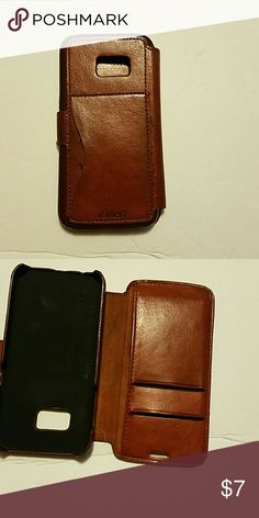 Galaxy 7 phone case Phone case tan / 3 card holder slots1 side slide also  preowned and very used but very handy and still has good wear left taken Other