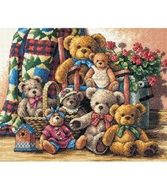 Dimensions Gold Collection Counted Cross Stitch Kit Teddy Bear Gathering