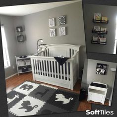 A monochromatic nursery using SoftTiles Safari Animals 9 Tile Play Mat Set Black, Gray, White
