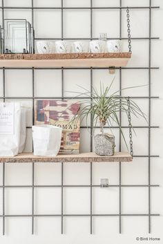WORKSPACE | DIY Inspiration - Grid wall with shelving - A Daily Poetry Den Bosch ©BintiHome