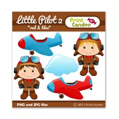 Little Pilot 2 (Red & Blue) - Digital Clip Art - Personal and Commercial Use - graphics, scrapbooking, card making Planes Party, Airplane Party, Felt Crafts, Paper Crafts, Pretty Drawings, Cute Clipart, Baby Shower, Cute Images, Red And Blue