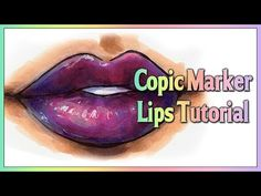 Copic marker TUTORIAL - How to color purple glossy lips with Copic Marker Copic Markers Tutorial, Tombow Markers, Lip Tutorial, Alcohol Markers, Copic Marker Art, Copic Pens, Copic Sketch Markers, Copics, Fashion Illustration Tutorial