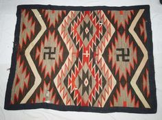 1920 Navajo Double Rolling Log Textile Rug : Lot 1373