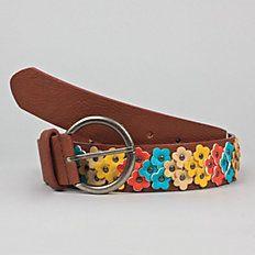 Flower Clusters Leather Belt