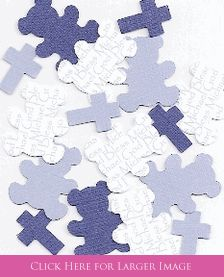 Personalized Baptism Decorations - Teddy Bear & Cross Table Sprinkles large confetti.