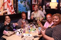 We meet monthly at TGI Fridays to paint glasses, check out our website for our next class: www.wonderfullymade4you.com