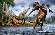 Pictured is an artist's impression of Spinosaurus hunting an Onchopristis while two Carcha...