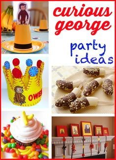 Curious George Party Ideas -- These color schemes are adorable and perfect for a #curiousgeorge themed party! | paigespartyideas.com