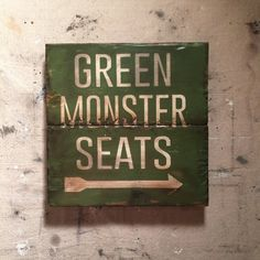 Green Monster Seats | Baseball Sign | Fenway Park Boston Red Sox | Distressed Wood Handmade | Boys Decor | Man Cave | Boston Art