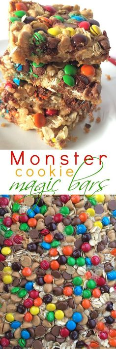 Monster Cookie Magic Bars | graham cracker crust, oats, peanut butter chips, chocolate chips, and mini m&m's! www.togetherasfamily.com