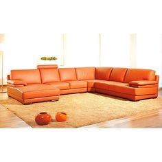 """Divani Casa 2227 - Modern Leather Sectional Sofa. Modern contemporary furniture, sectional sofa set in orange with chaise. low wooden legs, double padded armrest and one adjustable headrest Dimensions: 2 seater with arm: W58"""" x D37"""" x H35/39""""  Corner: W44"""" x D44"""" x H35/39""""  2 seater: W46"""" x D37"""" x H35/39""""  Chaise: W64"""" x D39"""" x H35/39""""  Seat Depth: 21"""" Color: Orange Finish:   -"""
