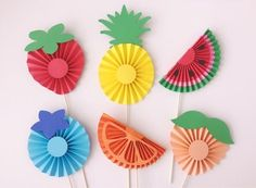CutesyShelf by CutesyShelf - - CutesyShelf by CutesyShelf Tutti Frutti party Tutti Frutti birthday party decoration stick centerpiece photo booth prop rosette peach strawberry watermelon pineapple fruity fruit banner blueberry Watermelon Birthday Parties, Fruit Birthday, Fruit Party, Summer Crafts For Kids, Art For Kids, Kids Crafts, Fall Crafts, Stick Centerpieces, Paper Fruit