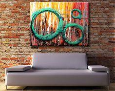 36x48 ORIGINAL Abstract Urban Painting BIG Modern Acrylic Red, Aqua, Grey, Silver Fine Art by Federico Farias