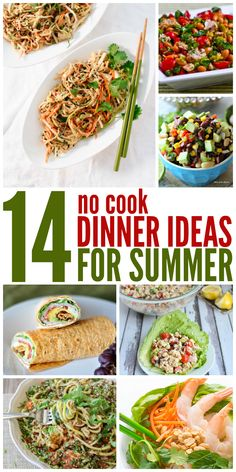 Weeks of No Cook Dinner Ideas These no cook summer meals sound so refreshing and delicious! - One Crazy HouseThese no cook summer meals sound so refreshing and delicious! - One Crazy House Cold Summer Dinners, Hot Day Dinners, Hot Weather Meals, Easy Summer Meals, Healthy Summer Recipes, Cold Meals, Summer Food, Summer Fresh, Summer Dinner Ideas